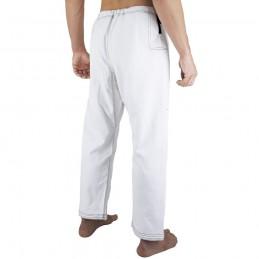 Pantalones de jiu-jitsu brasileño Bõa Jogo no Chão - Blanco | para clubes sobre tatamis