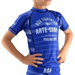 Rashguard criança de NoGi Jogo no Chão - Azul