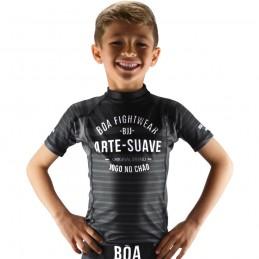 Детская компрессионная футболка наземная игра - чёрный