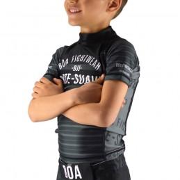 Rashguard infantil de NoGi Jogo No Chão - Preto