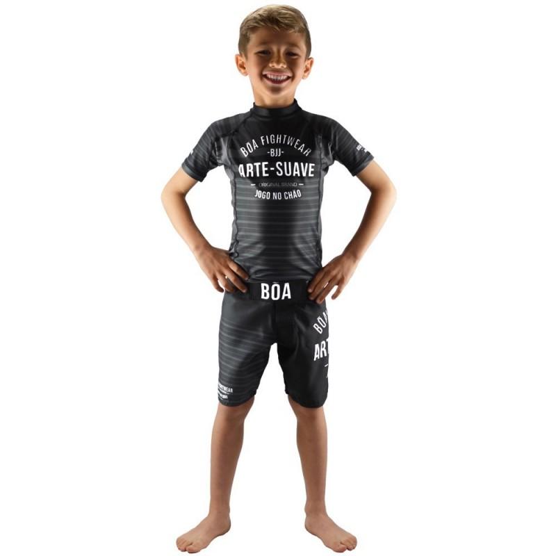 Conjunto de NoGi para niños Jogo No Chão - Negro | de lucha