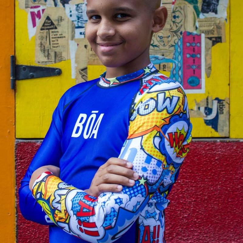 Rashguard Niño Bõa Bom Vem - azul | de lucha