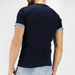 Tudo bem Herren T-Shirt - Blau Baumwolle