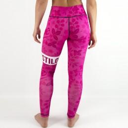 Women's fun sport leggings - Estilo Floral Pink for fitness