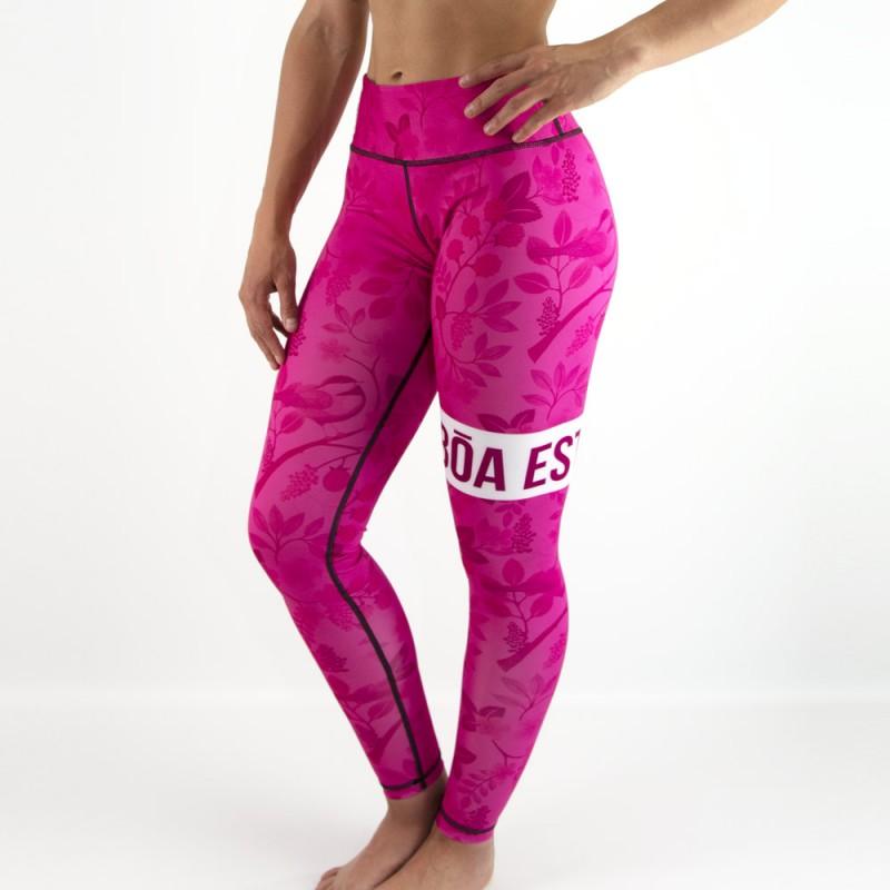 Leggings divertenti donna Nogi - Estilo Floral Rosa per abbigliamento sportivo