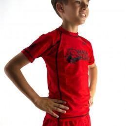 Rashguard criança de Nogi Mata Leão - Vermelho para artes marciais