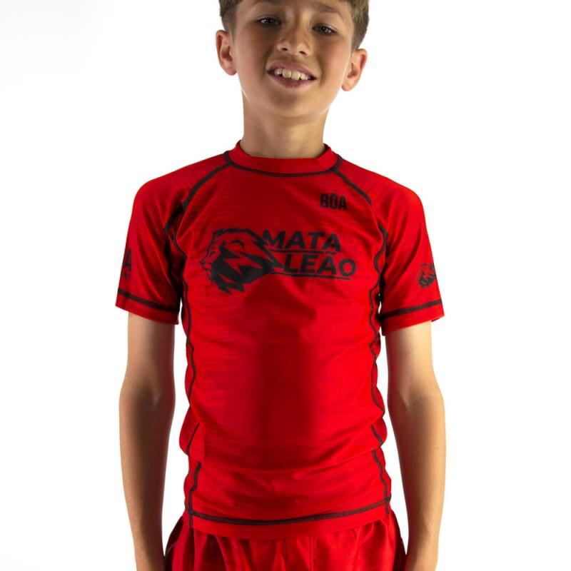 Rashguard criança de Nogi Mata Leão - Vermelho para Grappling