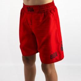 Shorts vermelho de MMA infantil Mata Leão | Bōa Fightwear