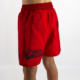 Fight short child Mata Leão - Red for martial arts