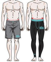Size chart for men's leggings and shorts